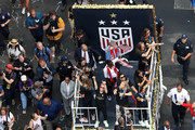 New York City Mayor Bill de Blasio rides on a float with Megan Rapinoe, Julie Ertz and the rest of the USA Women's National Soccer Team as they celebrate during a Victory Ticker Tape Parade down the Canyon of Heroes on July 10, 2019 in the Manhattan borough of New York City. The USA defeated the Netherlands on Sunday to win the 2019 FIFA Women's World Cup France.
