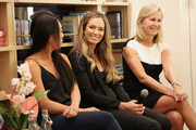 "(L-R) Professional WTA players Vania King and Danielle Collins, and president of the Women's Tennis Association Micky Lawler speak during a WTA panel discussion, ""Women in Tennis Taking Action: A Conversation on Women in Sports"" at The Wing, Dumbo on August 21, 2019 in New York City."