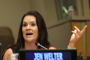 """NFL Coach Jen Welter speaks on the """"He for She: Teaching Men to Invest in Woman-Owned Businesses"""" panal during Women's Entrepreneurship Day at the United Nations on November 19, 2015 in New York City."""