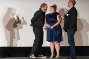 (L-R) Actor Joaquin Phoenix, Actress Beth Ditto and Keith Simanton of IMDb speak on stage after a screening of the film 'Don't Worry, He Won't  Get Far On Foot' during the Seattle International Film Festival at SIFF Cinema Egyptian on June 10, 2018 in Seattle, Washington.