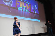 Beth Ditto and Keith Simanton of IMDb speak on stage after a screening of the film 'Don't Worry, He Won't  Get Far On Foot' during the Seattle International Film Festival at SIFF Cinema Egyptian on June 10, 2018 in Seattle, Washington.