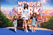"""Imogen Thomas (C) and her children Siera Aleira Horsley and Ariana Siena Horsley attend the UK Gala screening of """"WONDER PARK"""" at Vue Leicester Square on March 24, 2019 in London, England."""
