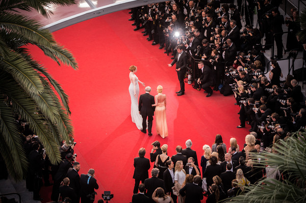 'Irrational Man' Premiere - The 68th Annual Cannes Film Festival [irrational man premiere - the 68th annual cannes film festival,image,red,fashion,event,performance,crowd,stage,audience,tree,room,dress,emma stone,woody allen,parker posey,filters,cannes,france,premiere,cannes film festival]