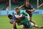 Alafoti Faosiliva of Worcester Warriors is tackled by Toby Flood and Mark Wilson of Newcastle Falcons during the Gallagher Premiership Rugby match between Worcester Warriors and Newcastle Falcons at Sixways Stadium on September 15, 2018 in Worcester, United Kingdom.