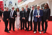 Directors Bahman Ghobadi, Hideo Nakata, Guillermo Arriaga,Mira Nair,Hector Babenco,Amos Gitai,Alex de la Iglesia,Warwick Thornton attend the 'Words With Gods' premiere during the 71st Venice Film Festival on August 30, 2014 in Venice, Italy.