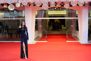 """Sofia Resing walks the red carpet ahead of the movie """"The World To Come"""" at the 77th Venice Film Festival on September 06, 2020 in Venice, Italy."""