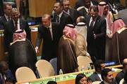 Turkish President Tayyip Erdogan greets members of the Saudi Arabian delegation on the first day of the United Nations General Assembly meeting on September 20, 2016 in New York City. Heads of state gathered to address global issues at the 71st annual meeting at the UN headquarters in New York.