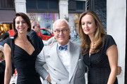 (L-R) Christina Blahnik, Manolo Blahnik, and Lucy Yeomans arrive for The World Of Manolo Launch Party at Liberty on September 7, 2010 in London, England.