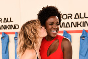 """Sarah Jones and Krys Marshall attend World Premiere of Apple TV+'s """"For All Mankind"""" - Red Carpet at Regency Village Theatre on October 15, 2019 in Westwood, California."""