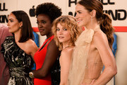 """Krys Marshall, Sarah Jones and Shantel VanSanten attend World Premiere of Apple TV+'s """"For All Mankind"""" - Red Carpet at Regency Village Theatre on October 15, 2019 in Westwood, California."""