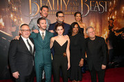"""(L-R top) Actors Luke Evans, Josh Gad and Gugu Mbatha-Raw (L-R bottom) Director Bill Condon, Actors Dan Stevens, Emma Watson, Audra McDonald and Composer Alan Menken arrive for the world premiere of Disney's live-action """"Beauty and the Beast"""" at the El Capitan Theatre in Hollywood as the cast and filmmakers continue their worldwide publicity tour on March 2, 2017 in Los Angeles, California."""