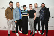 (L-R) Michael Turchin, Lance Bass, Constance Zimmer, Tyler Oakley, Gus Kenworthy, and Guillermo Díaz attend the World Premiere Of 'GAY CHORUS DEEP SOUTH' Documentary, Developed And Produced By Airbnb At The 2019 Tribeca Film Festival at Marriott Bonvoy Boundless Theatre on April 29, 2019 in New York City.