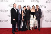 """(L-R) Hugo Weaving, Stephen Lang, Jihae, Hera Hilmar, Leila George and Robert Sheehan attend the World Premiere of """"Mortal Engines"""" at Cineworld Leicester Square on November 27, 2018 in London, England."""