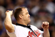 Former Cleveland Indians player Jim Thome throws out the ceremonial first pitch before Game Seven of the 2016 World Series at Progressive Field on November 2, 2016 in Cleveland, Ohio.