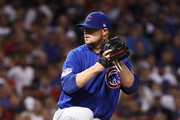 Jon Lester #34 of the Chicago Cubs throws a pitch during the seventh inning against the Cleveland Indians in Game Seven of the 2016 World Series at Progressive Field on November 2, 2016 in Cleveland, Ohio.