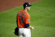 Zack Greinke #21 of the Houston Astros warms up prior to Game Seven of the 2019 World Series against the Washington Nationals at Minute Maid Park on October 30, 2019 in Houston, Texas.