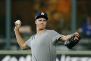 Zack Greinke #21 of the Houston Astros throws during batting practice prior to Game One of the 2019 World Series against the Washington Nationals at Minute Maid Park on October 22, 2019 in Houston, Texas.