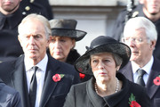 Former Prime Minister Tony Blair and Britain's Prime Minister Theresa May stand during the annual Remembrance Sunday memorial on November 11, 2018 in London, England. The armistice ending the First World War between the Allies and Germany was signed at Compiègne, France on eleventh hour of the eleventh day of the eleventh month - 11am on the 11th November 1918. This day is commemorated as Remembrance Day with special attention being paid for this year's centenary.