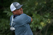 Jason Dufner plays his shot from the 13th tee during the first round of the Wyndham Championship at Sedgefield Country Club on August 16, 2018 in Greensboro, North Carolina.