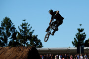 Ben Wallace of Great Britain competes in the BMX Dirt qualifying during the X Games Sydney 2018 at Sydney Olympic Park on October 19, 2018 in Sydney, Australia.
