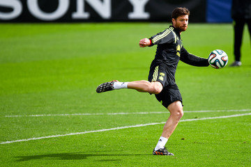 Xabi Alonso Spain Training & Press Conference - 2014 FIFA World Cup Brazil