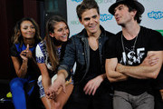 (L-R) 'The Vampire Diaries' actors Kat Graham, Nina Dobrev, Paul Wesley and Ian Somerhalder chat with fans over Skype for Xbox One in the Microsoft VIP Lounge during Comic-Con on July 26, 2014 in San Diego, California.