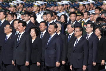 Xi Jinping Chinese Leaders Lay Floral Baskets To The Monument To The People's Heroes
