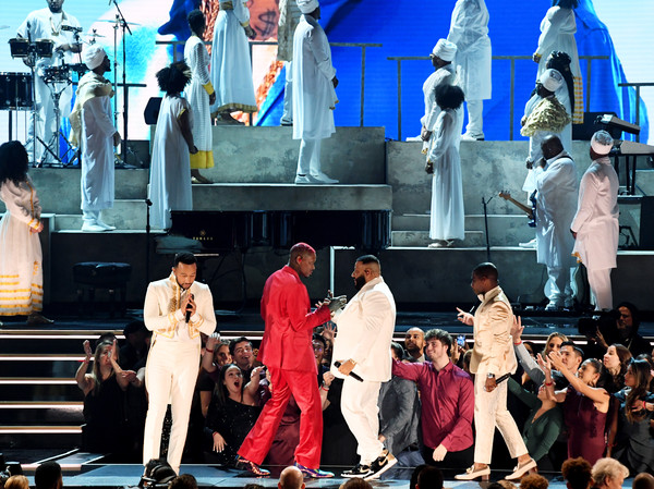 62nd Annual GRAMMY Awards - Show [performance,stage,musical,performing arts,performance art,event,heater,crowd,musical theatre,tourism,john legend,kirk franklin,dj khaled,l-r,california,los angeles,staples center,yg,show,annual grammy awards,grammy awards,nipsey hussle tribute,artist,2020,rapper,nipsey hussle,dj khaled,john legend,roddy ricch]