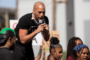 Kendrick Sampson speaks during the YG x BLMLA x BLDPWR protest and march June 07, 2020 in Los Angeles, California.