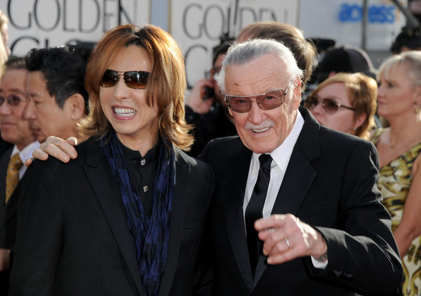 Musician Yoshiki and writer Stan Lee arrive at the 68th Annual Golden Globe Awards held at The Beverly Hilton hotel on January 16, 2011 in Beverly Hills,