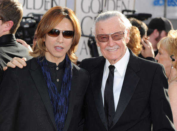 Musician Yoshiki and writer Stan Lee arrive at the 68th Annual Golden Globe