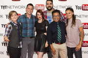 YouTube talent Hannah Hart, comedian Dave Rubin, actress Bree Essrig and YouTube talents Jonny McGovern, Alec Mapa and Whitney Mixter arrive at the YouTube & TYTNetwork PRIDE Party on June 27, 2013 in Los Angeles, California.
