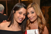 "Freida Pinto and author Dr. Nigma Talib attend the ""Younger Skin Starts In The Gut"" book launch party at Four Seasons Hotel Los Angeles at Beverly Hills on March 22, 2016 in Los Angeles, California."