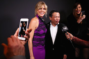 Marla Maples, Zang Toi and Carol Alt attend backstage at the Zang Toi show during New York Fashion Week: The Shows at Gallery II at Spring Studios on February 13, 2019 in New York City.