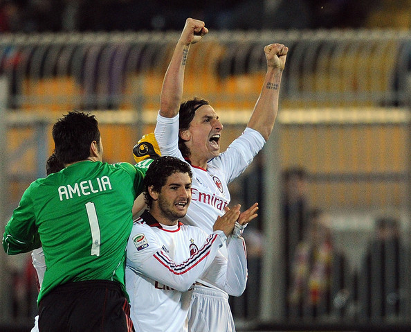 Lecce v AC Milan - Serie A [player,sports,team sport,championship,ball game,tournament,sports equipment,product,sport venue,football player,serie a,ac milan,serie a match between lecce and milan at stadio via del mare,lecce,italy,zlatan ibrahimovic of milan]