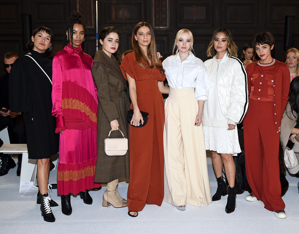 ADEAM Fall | Winter 2020 SHOW - Front Row [winter 2020 show,event,fashion,pink,fashion design,outerwear,ceremony,haute couture,zoe chao,angela sarafyan,dove cameron,nesta cooper,molly gordon,jamie chung,adeam fall,front row,l-r,dove cameron,angela sarafyan,molly gordon,jamie chung,calu rivero,new york,photograph,getty images,stock photography]