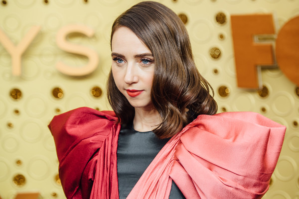 71st Emmy Awards - Arrivals [image,hair,pink,beauty,red,skin,lip,hairstyle,lady,fashion,outerwear,arrivals,zoe kazan,emmy awards,filters,los angeles,california,microsoft theater]
