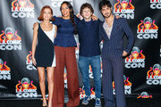 """Actors Zoey Deutch, Rosario Dawson, Jesse Eisenberg and Avan Jogia attend """"Zombieland 2"""" Panel and Surprise Screening at Los Angeles Convention Center on October 12, 2019 in Los Angeles, California."""
