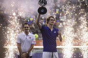 Alexander Zverev of Germany lifts the trophy after an exhibition game between Alexander Zverev and Roger Federer at Arena Parque Roca on November 20, 2019 in Buenos Aires, Argentina.