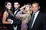(L-R) Giulia Salemi, Ivano Marino, Soleil Stasi and guest attend the amfAR Gala at Palazzo Mezzanotte on September 21, 2019 in Milan, Italy.