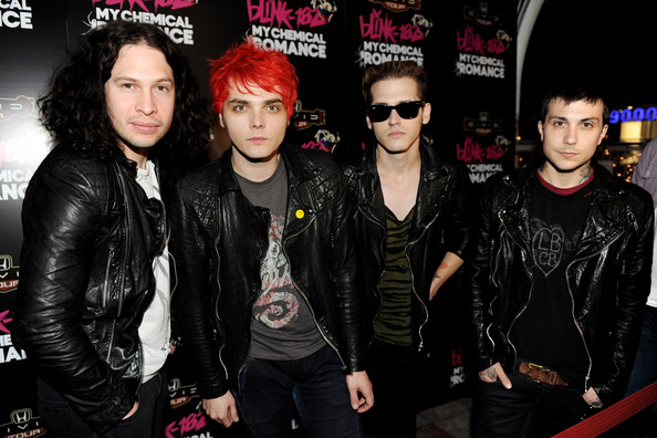 (L-R) Musicians Ray Toro, Gerard Way, Mikey Way and Frank Iero of My Chemical Romance pose at a press party of announce the 2011 Honda Civic Tour featuring blink-182 and My Chemical Romance at the Rainbow Bar and Grill on May 23, 2011 in West Hollywood, California.