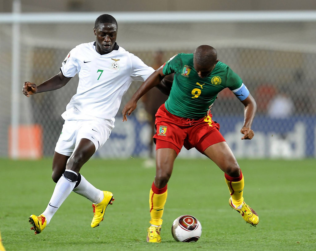 D Exhibition Zambia : Jacob mulenga in cameroon v zambia group d african cup