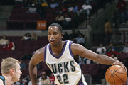 Michael Redd #22 of the Milwaukee Bucks in action during a preseason game against the Minnesota Timberwolves at Value City Arena on October 9, 2003 in Columbus, Ohio. NOTE TO USER: User expressly acknowledges and agrees that, by downloading and or using the photograph, User is consenting to the terms and conditions of the Getty Images License Agreement.