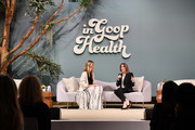 (L-R) Gwyneth Paltrow and Marianne Williamson speak onstage at the In goop Health Summit San Francisco 2019 at Craneway Pavilion on November 16, 2019 in Richmond, California.