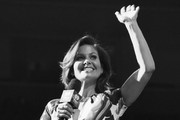 This image has been converted to black and white.)  Candace Cameron-Bure speaks on stage during the iHeart80s Party 2017 at SAP Center on January 28, 2017 in San Jose, California.