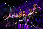 "(L-R) V, SUGA, Jin, Jungkook, RM, Jimin, and J-Hope of ""BTS"" speak with host JoJo Wright at iHeartRadio LIVE with BTS presented by HOT TOPIC at iHeartRadio Theater on January 27, 2020 in Burbank, California."