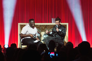 Mark Ronson performs a DJ set on stage OR Mark Ronson speaks with host EJ at iHeartRadio Live and Verizon Bring You Mark Ronson at Showbox SoDo on August 13, 2019 in Seattle, Washington.