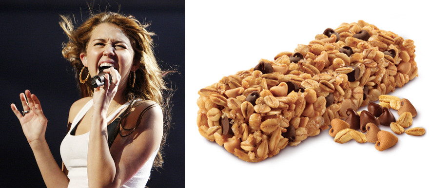 Pictures of Miley Cyrus / Hannah Montana with a granola bar