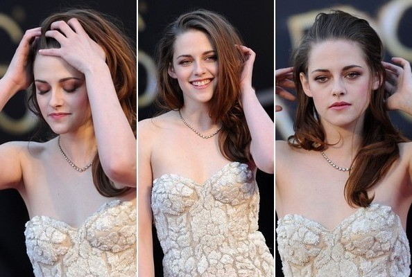 Kristen Stewart Is Always Fussing with Her Hair, Even at the Oscars [PHOTOS]