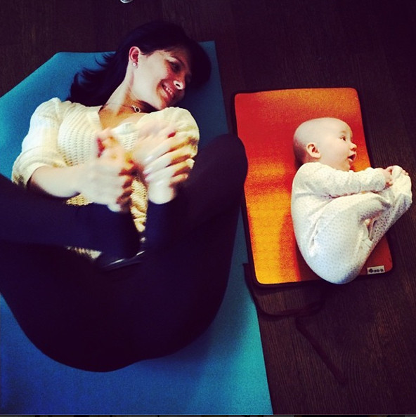Happy Baby Pose - Hilaria Baldwin Does Seriously Sexy Yoga ...